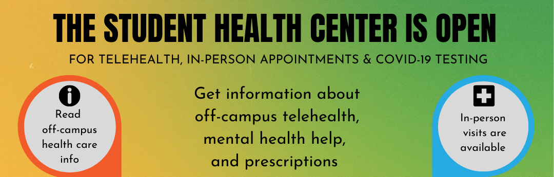 Off-Campus and Evacuated Students: Our Sites are closed the week of 8/24. Get information here about off-campus healthcare, mental health help, and prescriptions. Protect your lungs!